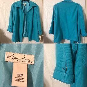 Kim Rogers Blazer/Jacket size 22W Teal. NWT